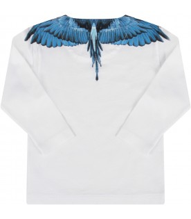 White T-shirt for baby boy with light blue wings