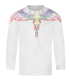White T-shirt for boy with colorful wings