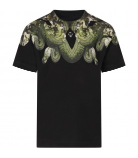 Black T-shirt for boy with green snakes
