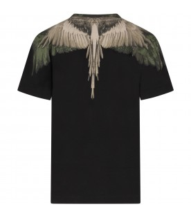 Black T-shirt for boy with ivory and green wings