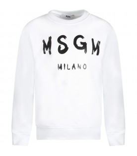 White kids sweatshirt with logo