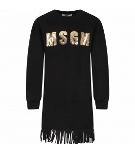 Black dress for girl with sequined logo