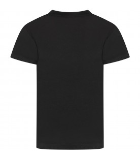 Black kids T-shirt with white logo