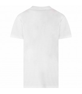 White kids T-shirt with logos