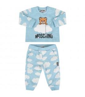 Light blue tracksuit with teddy bear and clouds for baby kid