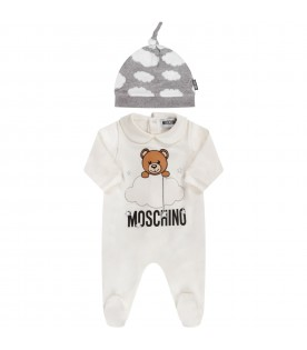 White and grey babykids suit with teddy bear and clouds