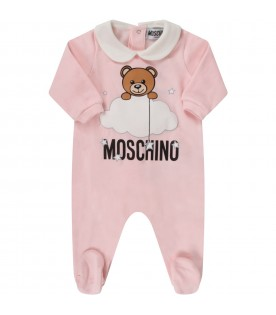 Pink babygirl suit with teddy bear and clouds