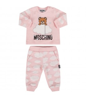Pink tracksuit with teddy bear and clouds for baby girl