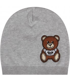 Grey beanie hat with teddy bear for babykid