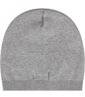 Grey babykids beanie hat with teddy bear