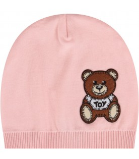 Pink beanie hat with teddy bear for baby girl