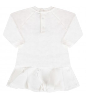 White dress with teddy bear for baby girl