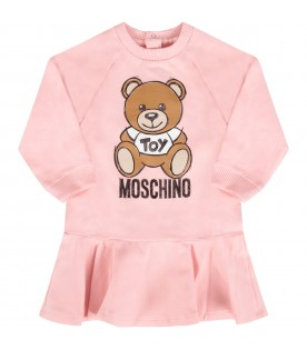 Pink dress with teddy bear for baby girl