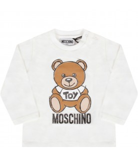 White t-shirt for babykids with teddy bear