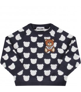 Blue sweater with teddy bear for baby boy