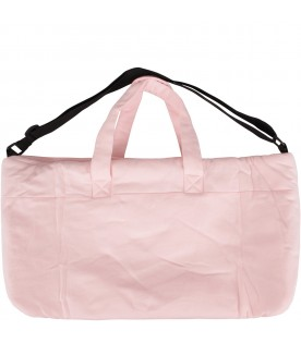 Pink babygirl changing bag with teddy bear