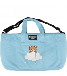 Light blue changing bag with teddy bear for baby boy