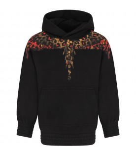 Black sweatshirt for boy with animalier wings