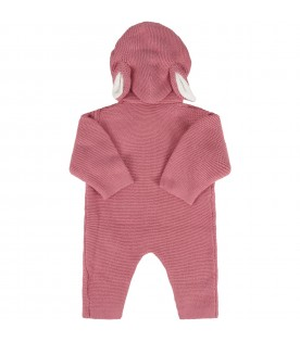 Pink babygrow for baby girl with ears