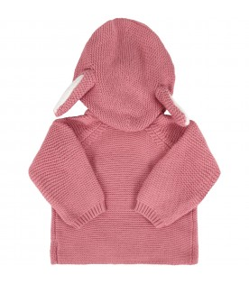 Pink jacket for baby girl with ears