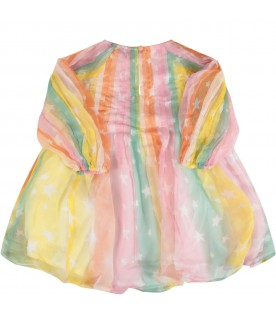 Multicolor dress for baby girl with stars
