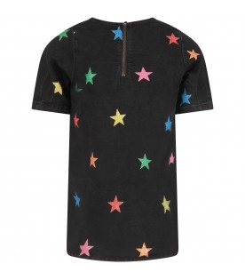 Black dress for girl with colorful stars