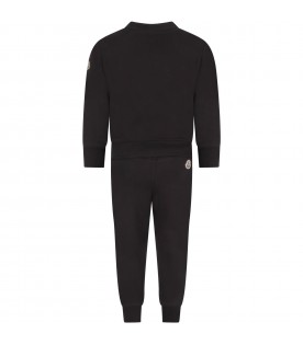 Black tracsuit for boy with ivory logo