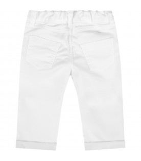 White pants for babykid with teddy bear