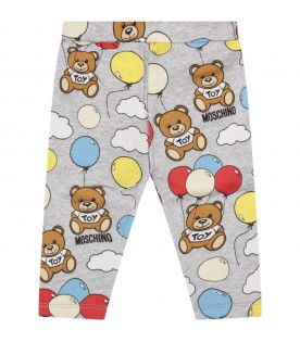 Grey leggings for baby boy with teddy bears and baloons