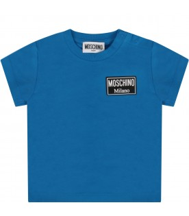 Azure T-shirt for baby boy with logo