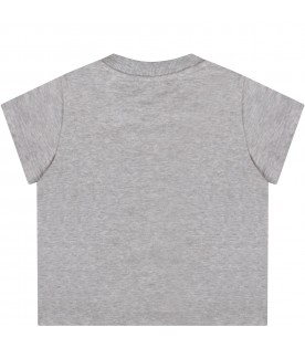 Grey T-shirt for baby boy with black logo