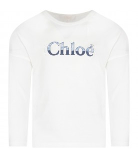 White T-shirt with light blue and blue logo for girl