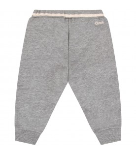 Grey sweatpant with logo for baby girl