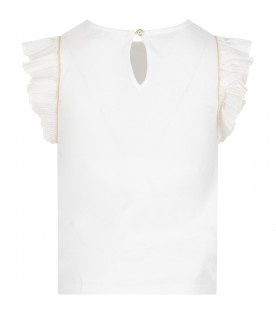 White T-shirt with gold logo for girl