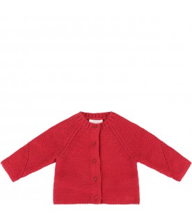 Red cardigan with logo for baby girl