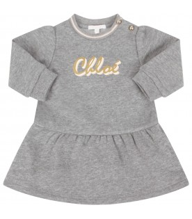 Grey dress with colorful logo for baby girl