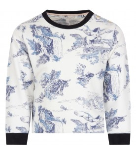 White sweatshirt with blue prints for girl
