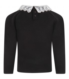 Black sweater with logo for girl