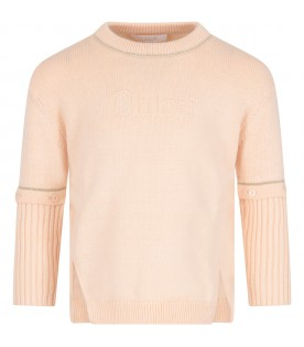 Pink sweater with logo for girl