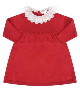 Red dress with logo for baby girl