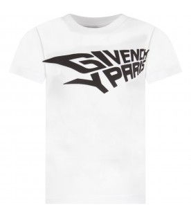 White T-shirt with logo for boy