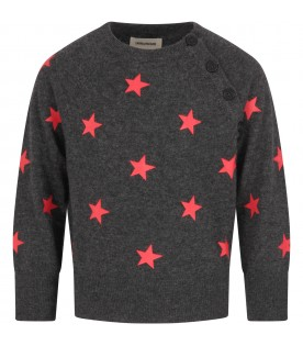 Grey sweter for girl with red stars