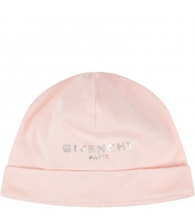 Pink and white hats with logo for baby girl