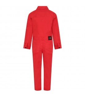 Red jumpsuit with logo for girl