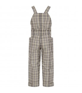 Grey and yellow overalls with logo for girl