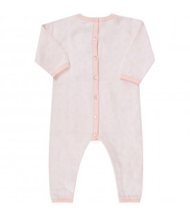 Pink babygrow with logos for baby girl