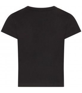 Black T-shirt with gold logo for girl