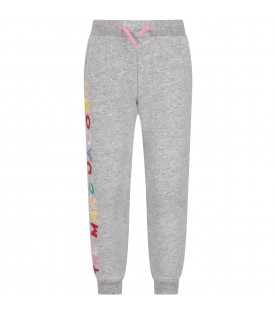 Grey girl sweatpants with colorful logo