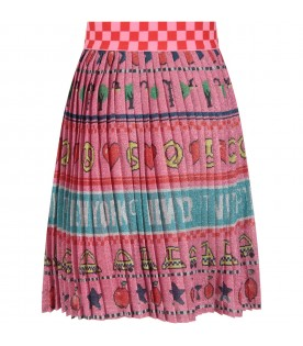 Pink skirt with colorful prints for girl