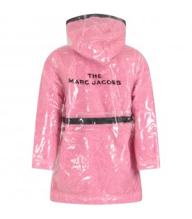 Pink parka for girl with logo